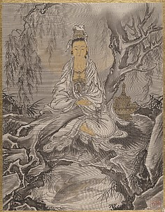 Kannon Seated Under A Tree: Fish in a Whirlpool in the Foreground