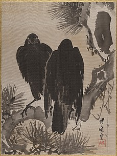 Two Crows on a Pine Branch