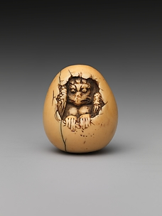 Netsuke of Bird in an Egg