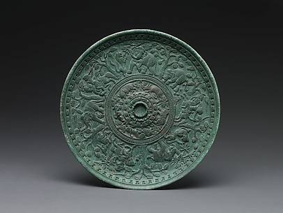 Footed Dish with Riders Hunting Lions, Elephants, and Deer