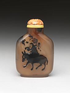 Snuff Bottle with Old Man Riding a Donkey