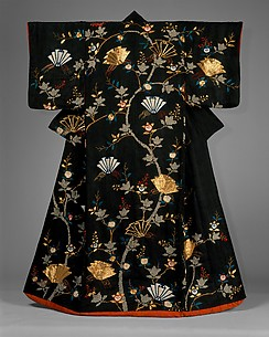 Woman&#39;s Over-Robe (uchikake) with Design of Mandarin Oranges and Folded Paper Ornaments