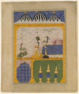 Three Ladies in a Palace Interior: Page from a Dispersed Laur Chanda (Romance of Laurak and Chanda)