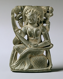 Mirror Handle with a Woman Playing the Vina