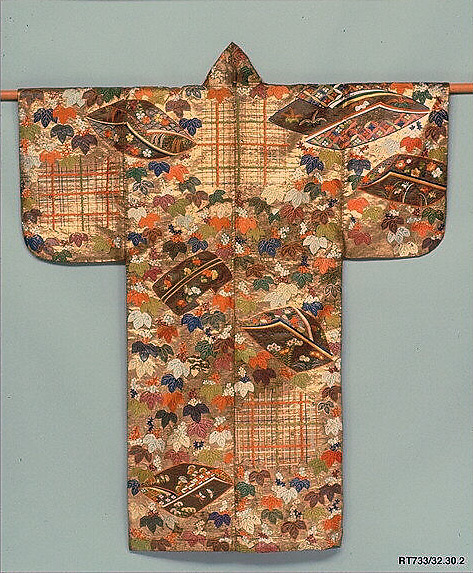 Noh Costume (Nuihaku) with Ivy, Incense Wrappers, and Bamboo Blinds