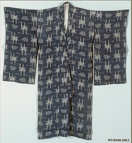 Girl's Summer Kimono with Design of Sea Bream and Bamboo
