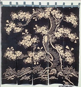 Noren with Design of Flowering Cherry Tree