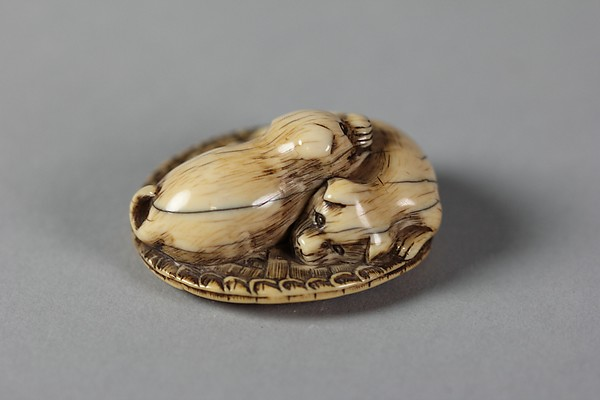 Netsuke of Two Dogs