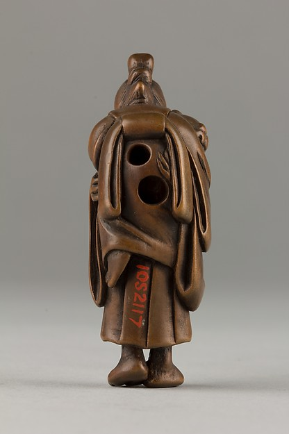 Netsuke of Demon Carrying a Woman on His Shoulders