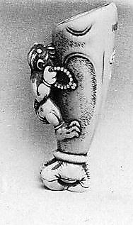 Netsuke of Hand and Forearm of a Demon with Small Demon on the Side