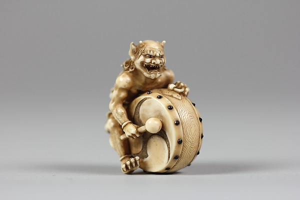 Netsuke of Demon with a Drum