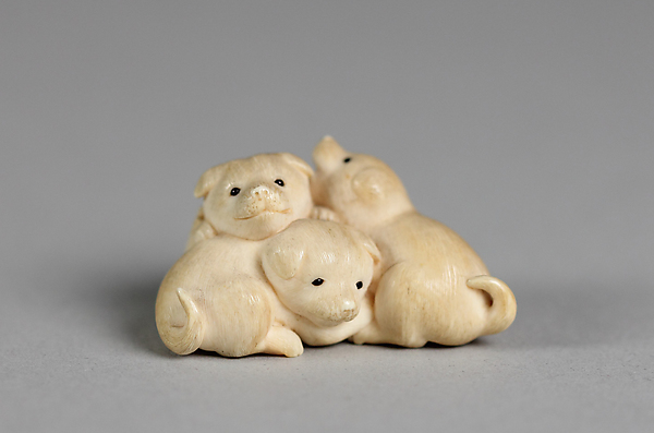 Netsuke of Three Puppies