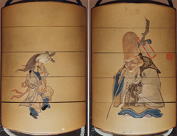 Case (Inrō) with Design of Deity of Longevity (Jurōjin) (obverse); Boy Offering a Tortoise (reverse)