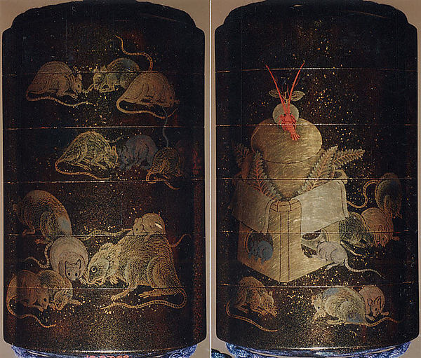 Case (Inrō) with Design of Rats Eating Rice beside New Year Arrangement with Mochi and Crayfish