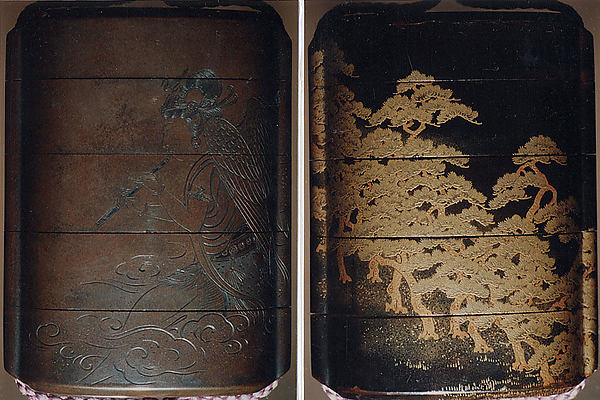Case (Inrō) with Design of Buddhist Angel (obverse); Pine Forest (reverse)