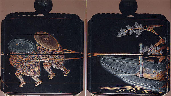 Case (Inrō) with Design of Two Persons with Wide Hats Pulling a Boat (obverse); Boat with Flowering Plants (reverse)