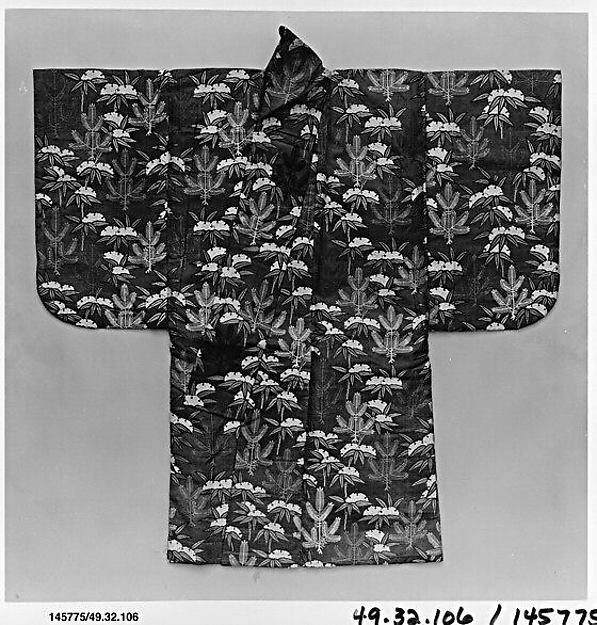 紅地若松雪持竹模様唐織<br/>Noh Robe (Karaori) with Pattern of Young Pines and Snow-Covered Bamboo on a Red Ground