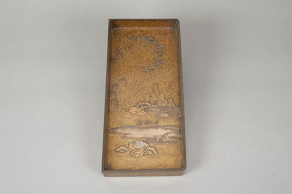 Writing Box with Cranes, Pines, Plum Blossoms, and Characters