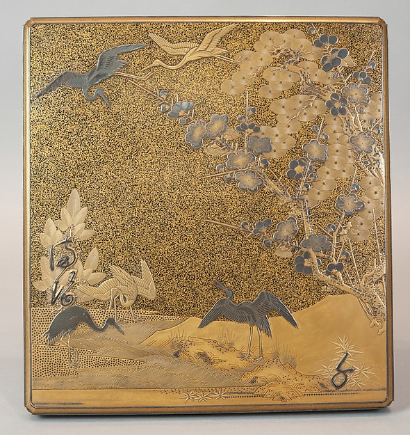 鶴松梅文字散し蒔絵硯箱<br/>Writing Box with Cranes, Pines, Plum Blossoms, and Characters
