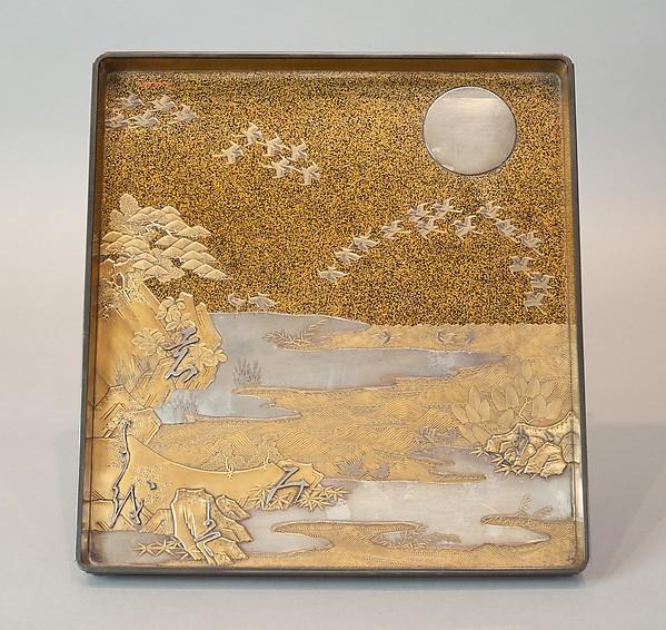 鶴松梅文字散し蒔絵硯箱<br/>Writing Box with Cranes, Pines, Plum Blossoms, and Characters