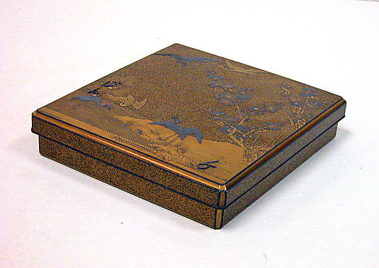Writing Box with Design of Cranes, Pine, Plum, and Characters (cover), Plovers and Characters (inside)