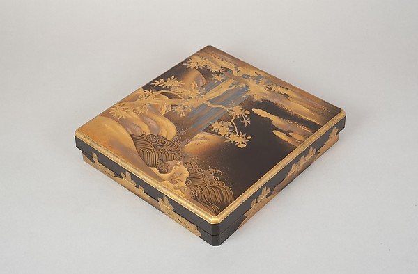 Writing Box with Design of a Cherry Tree and Waterfall