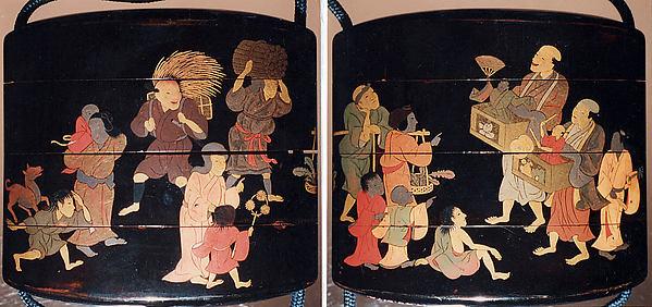 祭蒔絵印籠<br/>Inrō with Street Festival (obverse); People Watching a Puppet Show (reverse)