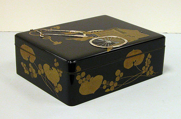 Box for Sheets of Paper with Design of Royal Cart and Aoi Water Plant