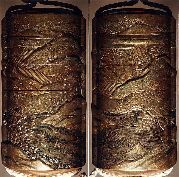 Case (Inrō) with Design of Hilly Landscape with Maple and Cherry Trees beside a River