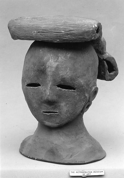 Head of a Female Haniwa Figure with Headdress