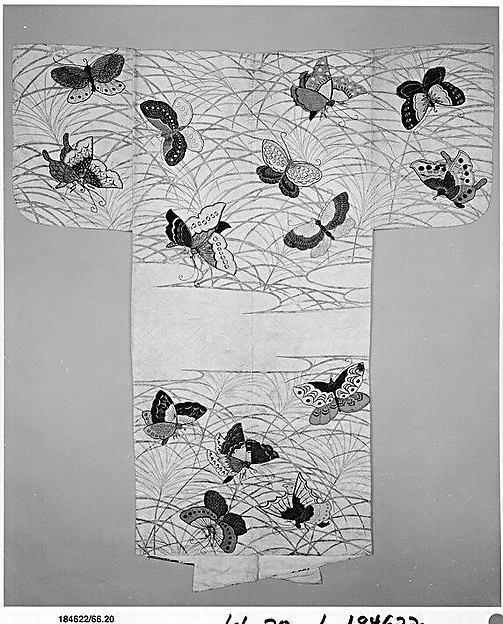 Noh robe (Nuihaku) with Design of Butterflies and Miscanthus Grass in Mist
