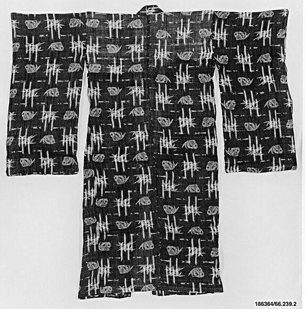Girl's Summer Kimono with Design of Sea Bream and Bamboo