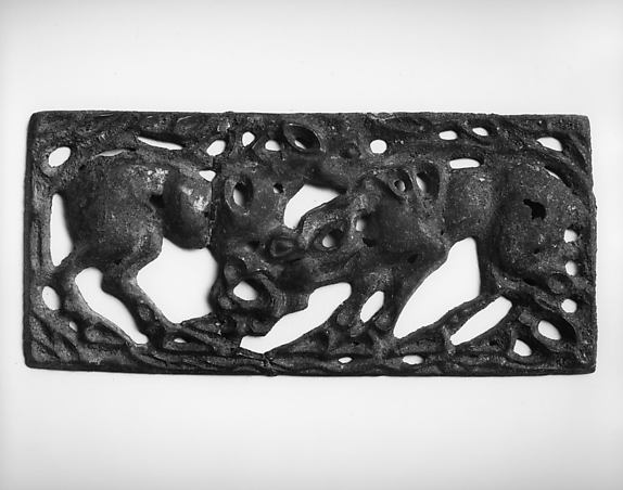Belt Plaque with Fighting Horses
