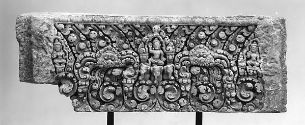 Lintel with Indra and Two Attendants