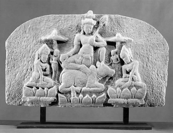 Shiva Seated on Nandi, Flanked by Consorts (Tympanum)