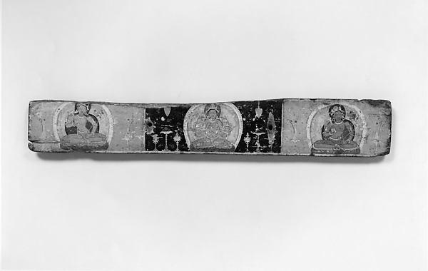 Pair of Manuscript Covers: Prajnaparamita Flanked by Bodhisattvas (above); Vajrasattva(?) Flanked by Bodhisattvas (below)