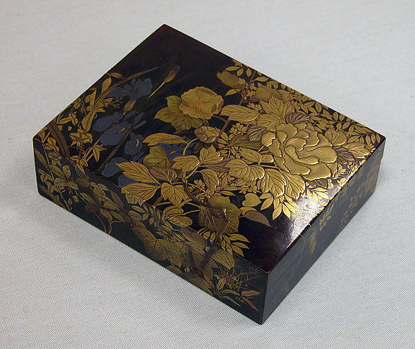 Box for Incense with Design of Peonies, Iris, Morning Glories, and Wisteria