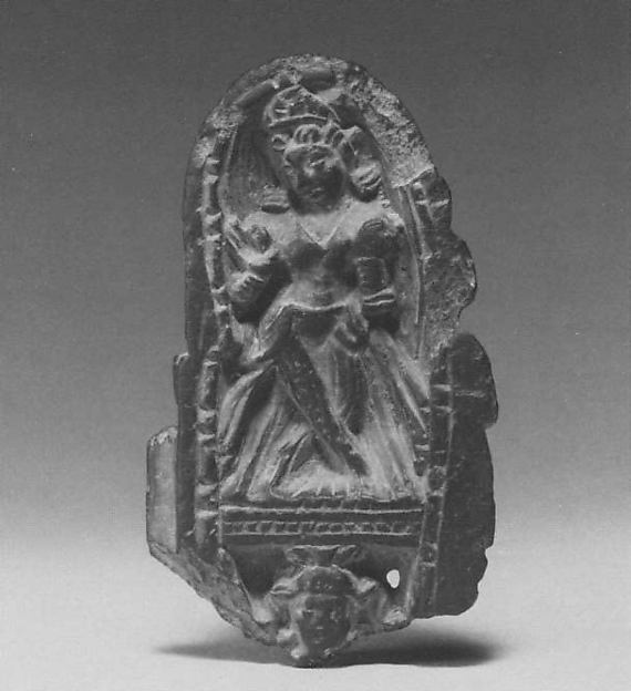 Section of a Diptych in Linga Form, Interior Depicting Parvati, the Consort of Shiva