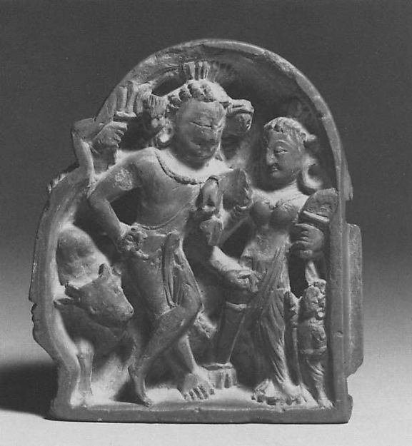 Section of a Diptych in Linga Form, Interior Depicting Shiva and Parvati