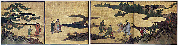 琴棋書画図襖の内<br/>Appreciation of Painting, from a set of the Four Accomplishments