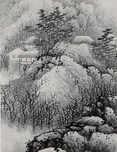 清 龔賢 冬景山水圖 軸 紙本<br/>Wintry Mountains