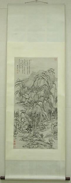 清  王原祁  倣吳鎮山水圖  軸<br/>Landscape after Wu Zhen