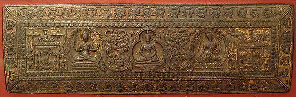 Manuscript Cover with Prajnaparamita Flanked by Sadakshari Lokeshvara and a Tara