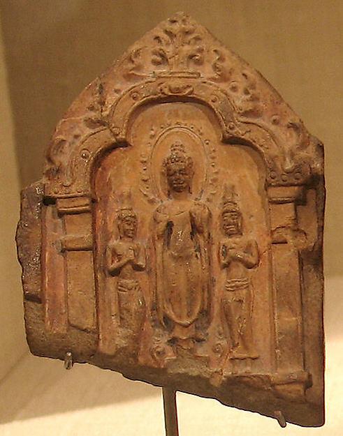 Standing Buddha and Two Bodhisattvas