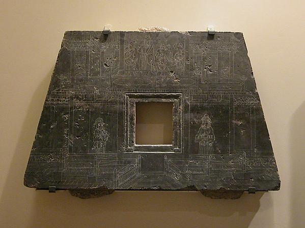元   佚名   戲劇演員和二十四孝圖   石槨前端與側<br/>Headstone from a Sarcophagus
