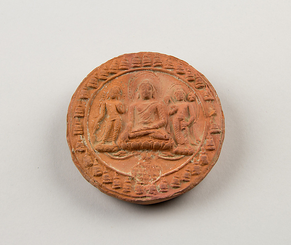 Molded Plaque with Seated Buddha and Attendant Bodhisattvas
