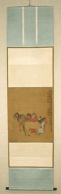清  傳金農  番馬圖  軸<br/>Grooms and Foreign Horses