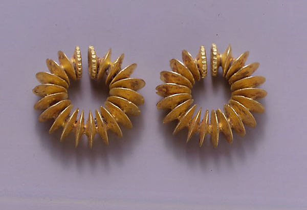 Pair of Ear Clips Composed of Fused Discs