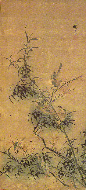明  仿林良  喜上梅梢圖  軸<br/>Birds Amidst Blossoming Plum and Bamboo