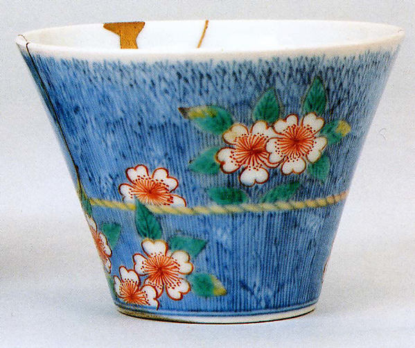 Cup with Decoration of Cherry Blossom and Brushwood Fence